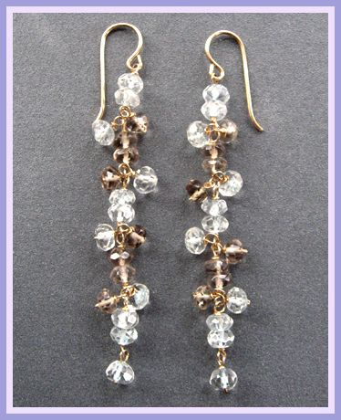 Gemstone Cascade Smokey Topaz & Aquamarine Earrings at Dasha Boutique