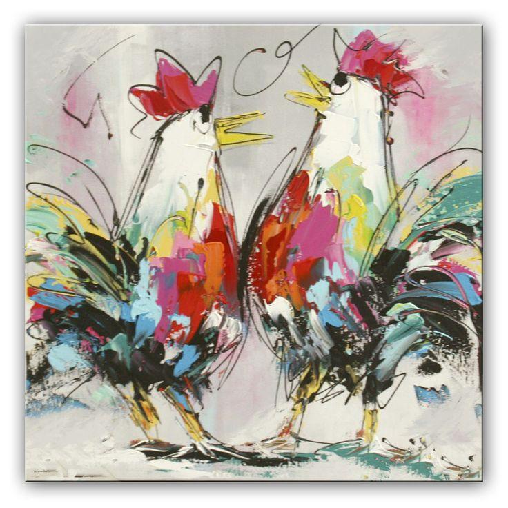 Gezellige kippen schilderijen met kippen vers uit het atelier van de kunstenaars van Fiore