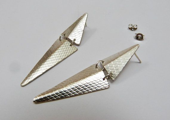 Silver long triangle chandelier stud earrings by LillyOJewellery