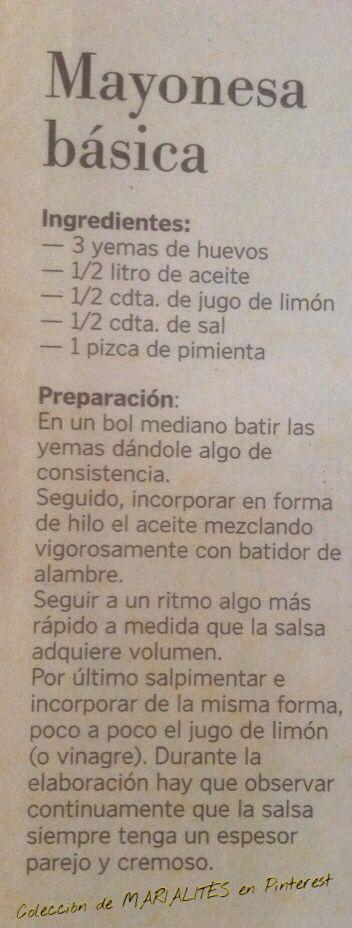 Recetas de cocina. Salsas. Mayonesa básica