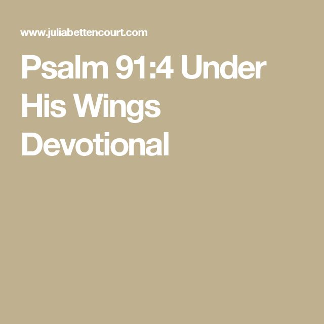 Psalm 91:4 Under His Wings Devotional