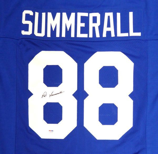 New York Giants Pat Summerall Autographed Blue Jersey PSA/DNA