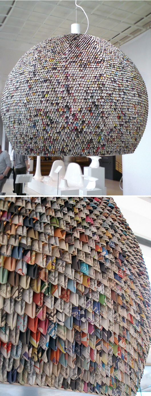 This lamp is made of old newspaper pages, and is a part of an exhibition at London Design Week.…