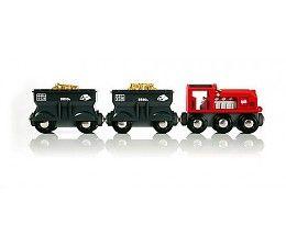 Brio Goederentrein met goud  Opgelet: het goudtransport komt net aanrijden! Deze goederentrein is speciaal gemaakt om zware vrachten van goud direct vanuit de mijn te vervoeren. Laad het goud in de twee wagons en zorg dat het zo snel mogelijk bij een goudopslag komt. Klap de motorkap van de locomotief open om de motor te ontdekken.  http://www.brio-trein.nl/brio-treinen-goederentrein-met-goud.html