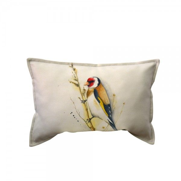 GOLD FINCH LONG CUSHION. Collection: Little Precious A metaphor of Spring celebrating the tiny, dynamic and colourful details of a garden in bloom. Little Precious is a capsule collection developed from the watercolour illustrations signed by Irina Neacsu. Composition: digital print on textile. Dimensions: width:60 cm, height:40 cm. Irina Neacsu Studio. Romania. Art. Design. Arhitect. Digital print. Cushion. Bird. Colorful. Collection. Spring. Watercolor. Garden bloom.