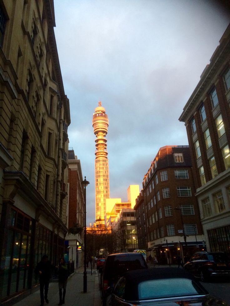 BT tower at dusk