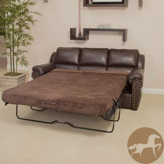 Christopher Knight Home Hadley Brown Leather Sofa Bed