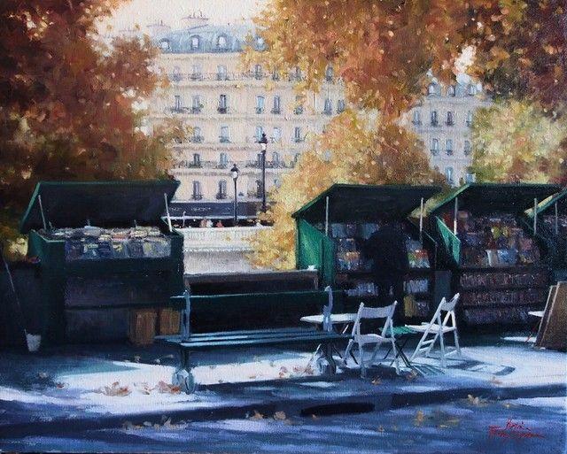 Les Bouquinistes Along the Seine - Paris, Betina Fauvel-Ogden, 56 x 71cm, Oil on Belgian Linen