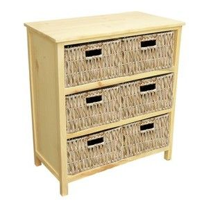 Great 6 Drawer Natural Bathroom Storage Chest Unlined Rattan Baskets Cabinet
