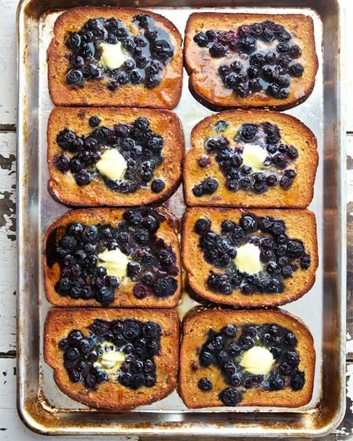 Baked Blueberry French Toast by sweetpaulmag from Marla Meridith of Family Fresh Cooking #French_Toast #Blueberry