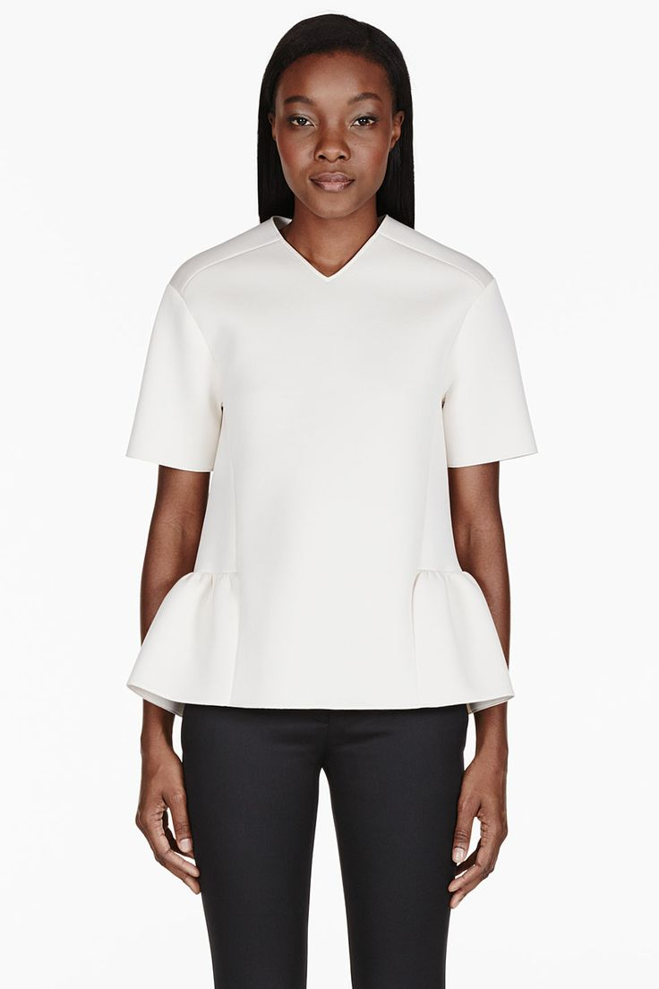 STELLA MCCARTNEY Ivory neoprene peplum blouse