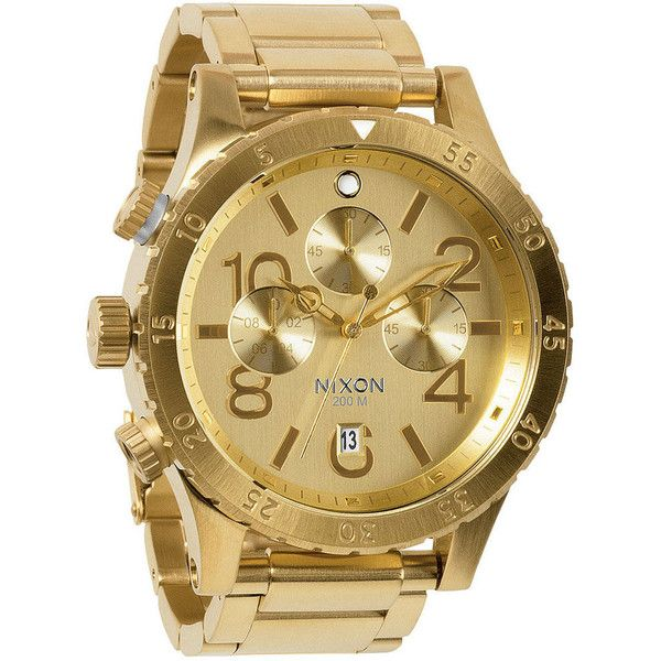 Nixon The 48-20 Chrono Watch ($500) ❤ liked on Polyvore featuring men's fashion, men's jewelry, men's watches, all gold, nixon wrist watch, chronograph watch, chronograph wrist watch, stainless steel wrist watch and dial watches
