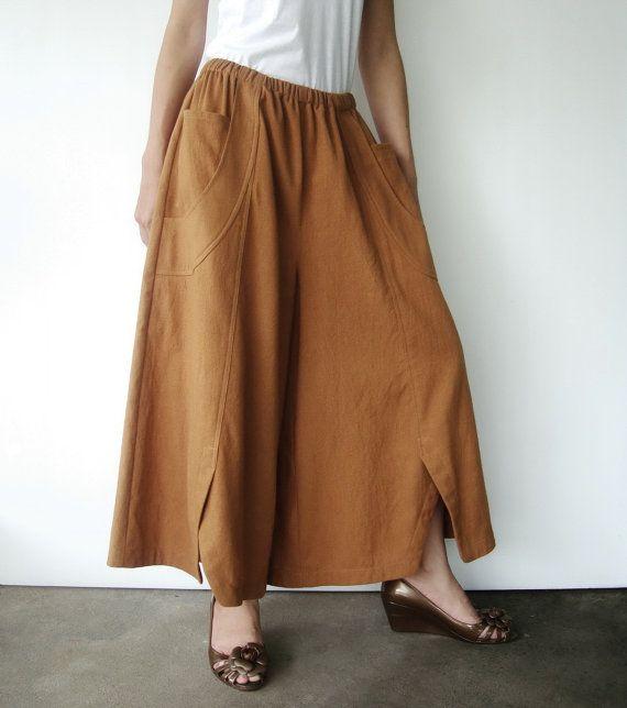 NO.41 Mustard Cotton Wide Leg Pants Unique by JoozieCotton