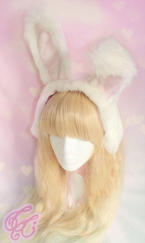 Fluffy Bunny Ear Lolita Headband by CelestialCastle on Etsy