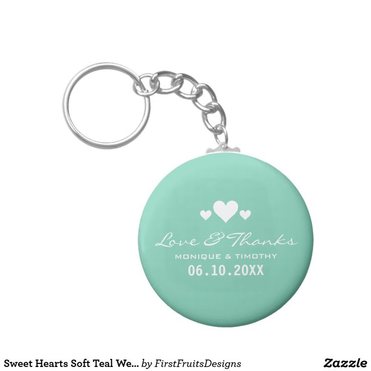 Sweet Hearts Soft Teal Wedding Thank You Keychain This sweet design features three decorative hearts, and and a soft teal background. Fresh, stylish, and classy yet simple.