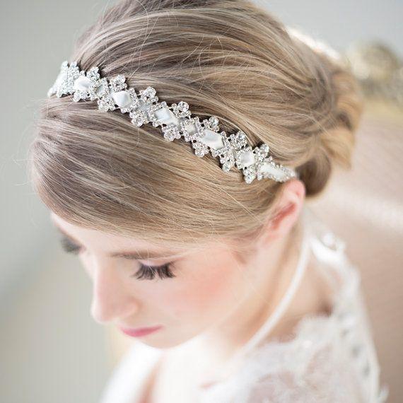 Wedding Headband, Bridal Rhinestone Headband, Ribbon Headband