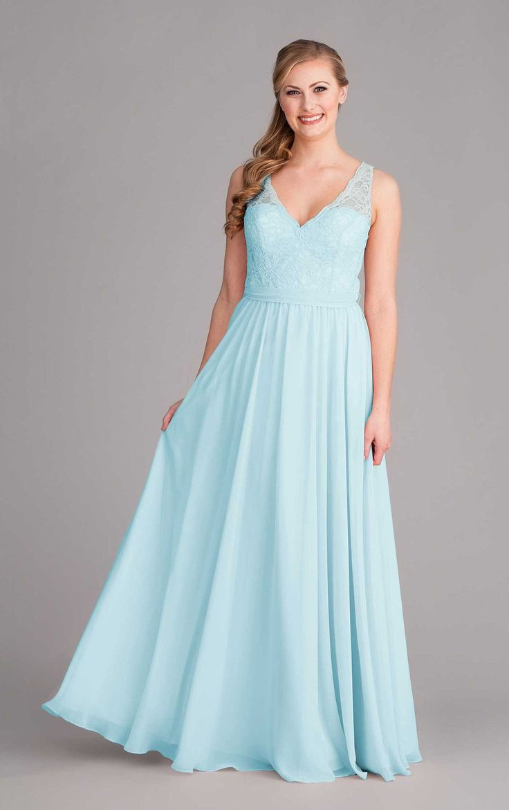 This lace and chiffon bridesmaid dress has a gorgeous v-neckline with scalloped edging and illusion straps.