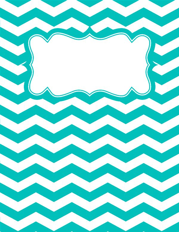 Free printable turquoise and white chevron binder cover template. Download the cover in JPG or PDF format at http://bindercovers.net/download/turquoise-and-white-chevron-binder-cover/