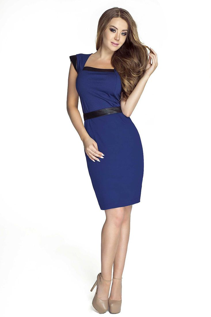 Royal Blue Black Pencil Dress - Shop Ladies Work Dresses Online - Fashionhub. Ladies corporate wear online.  R1495.00   http://fashionhub.co.za/royal-blue-black-pencil-dress-by-lookat.html