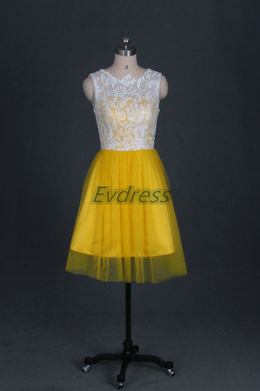 Latest yellow tulle ivory lace bridesmaid gowns,cheap women dress for wedding party,cheap short prom dresses hot. @jackiw3591