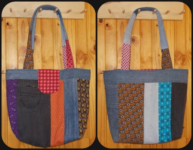 I made this Scrappy Tote for a shop. Earlier this year I also make one. but for myself. I wanted to make this one the same size, but by mistake it turned out as a Large Scrappy Tote.This Scrappy Tote is looking so good, so now I have two different sizes. See my FB page https://www.facebook.com/CarryGearBags/