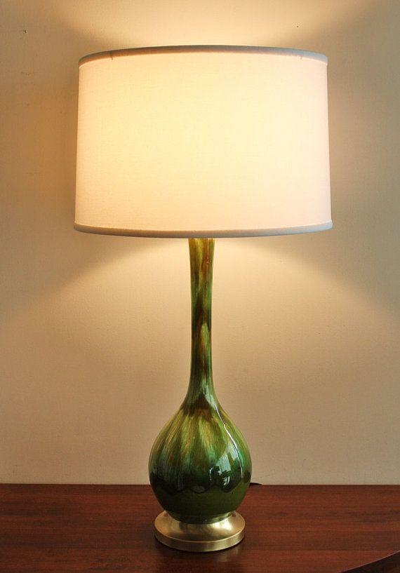 1960s Vintage green ceramic table lamp