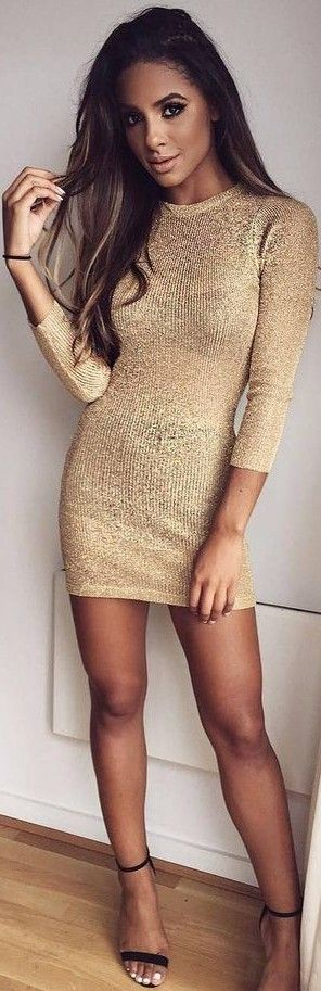 #summer #ohpolly #outfits | Metallic Knit Mini Dress in Gold