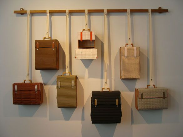 Series of little bags by Lotty Lindeman, showcased as part of the Spring exhibition at Designhuis