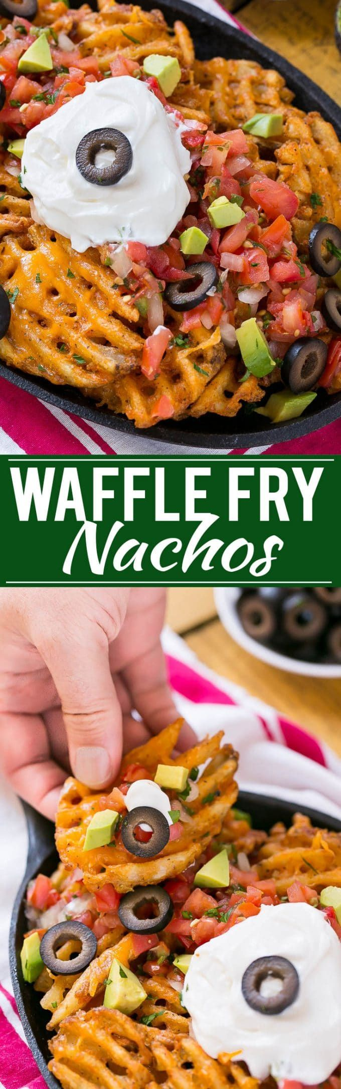 Waffle fries are smothered in nacho toppings for a fun and delicious snack. #Ad