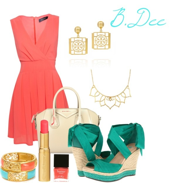 """""""Coral Wrap with Turquoise Wedges"""" by bianca-dee-944 on Polyvore"""