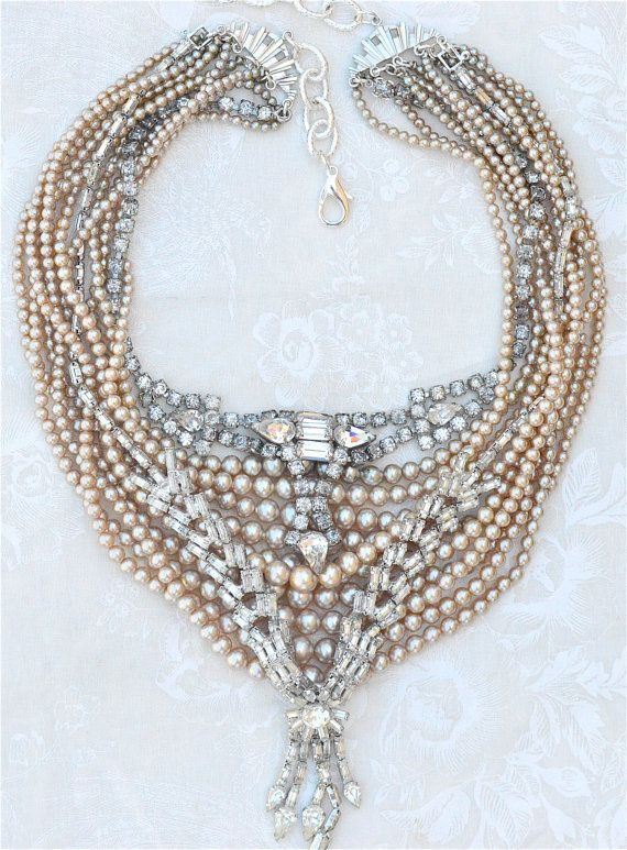 50% OFF THIS WEEKEND Only! Rhinestone Pearl Statement Necklace, Bridal Bib Necklace, Wedding Statement Necklace