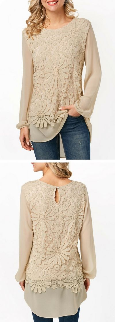 Long Sleeve Lace Panel Beige Blouse