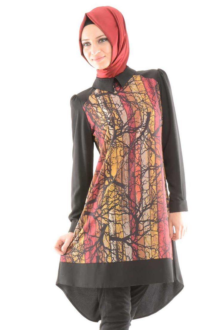 Modesty - Desenli Siyah Tunik