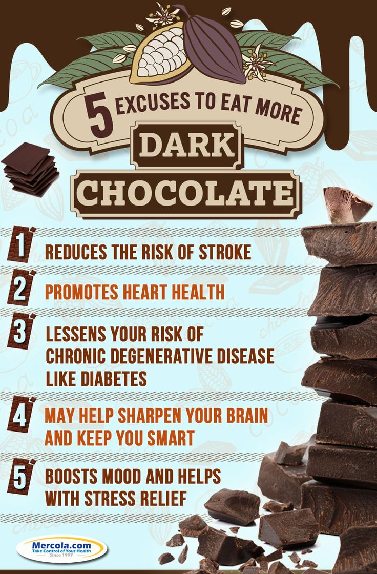 Dark chocolate is a healthier alternative to common, processed chocolate. Here are five reasons why you should eat dark chocolate. http://www.mercola.com/infographics/dark-chocolate-benefits.htm