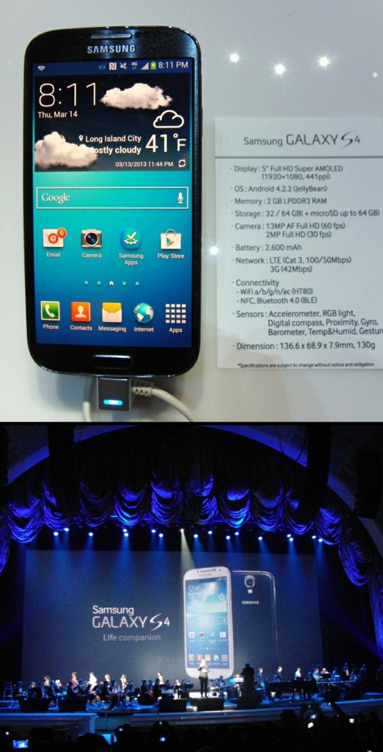 Samsung took another step up the mobile tech ladder Thursday with the debut of the Galaxy S 4 smartphone at Radio City Music Hall in New York. With its 5-inch, 1920-by-1080-pixel display, it takes a step up from the 4.8-inch, 1280-by-720-pixel screen on the Galaxy S III. It has front and back cameras with a nifty feature: You can both at the same time. The person at the other end sees you and what you're looking at. Click the pic for more at Black Enterprise. (Photos © 2013, Robert S…