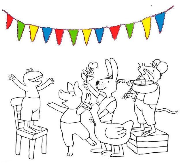 Nodig al je vriendjes uit met je eigen kleurplaat van Kikker vier feest!
