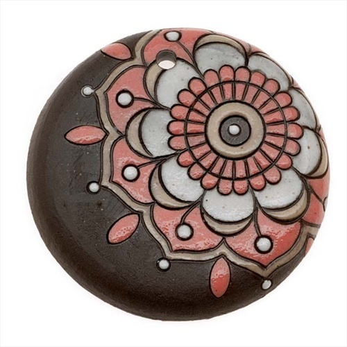 GOLEM STUDIO GLAZED CERAMIC DISC PENDANT BROWN W PINK ART DECO FLOWER 46MM 1 from beadaholique.com