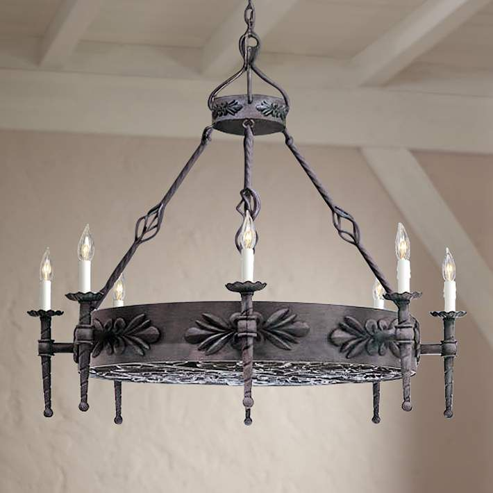 Alhambra Collection Round Large Wrought Iron Chandelier - #91721 | Lamps Plus