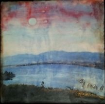 """Atypical Landscape II by Bethany Handfield Encaustic  Mixed Media ~ 8"""" x 8"""""""