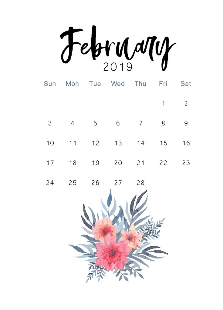 Free 2019 Printable Calendar The Cactus Creative Print Calendar Calendar Wallpaper Calendar
