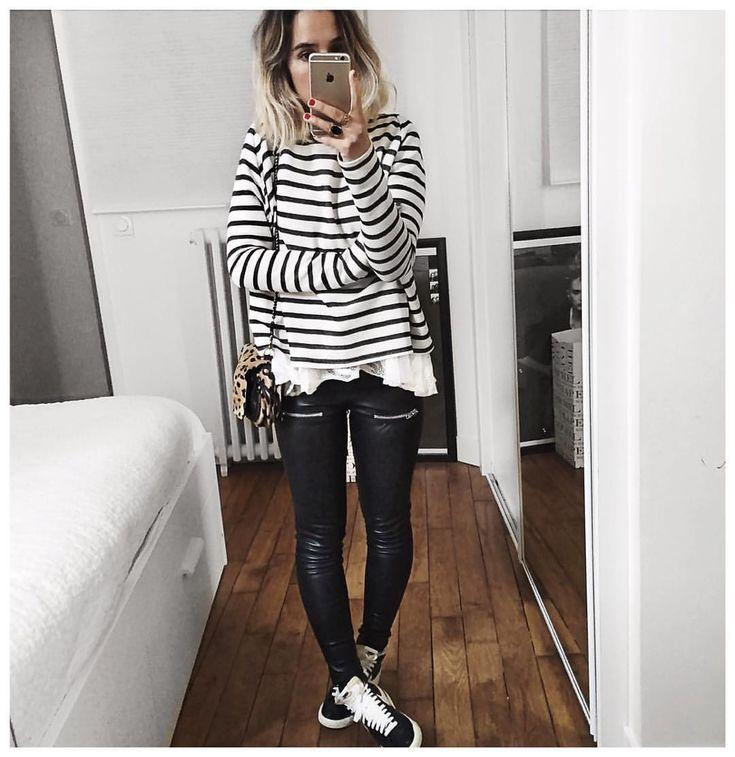 """Audrey on Instagram: """"Et tenue sous veste noire et manteau ⚫️ Ps : quelques pulls Michel seront disponibles aux ventes privées physiques @margauxlonnberg (elles commencent demain au showroom). Ils ne seront pas soldés mais celles qui l'avaient demandé pourront donc les essayer. • Knit """"Michel"""" #margauxlonnbergxaudreylombard (on @margauxlonnberg) • Lace top #roseanna (old) • Leather Legging #eponymcreation (on @meleponym) • Sneakers #blazer (old) • Bag #jeromedreyfuss (old) ..."""""""