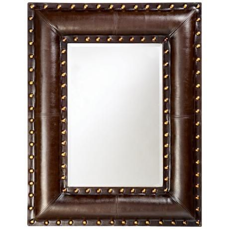 Studded Faux Leather Padded 45  High Wall Mirror  Western MirrorBathroom. 24 best Home Ideas   Mirrors images on Pinterest