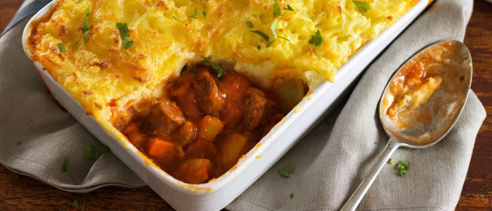 Devilled Sausage Cottage Pie recipe from Food in a Minute