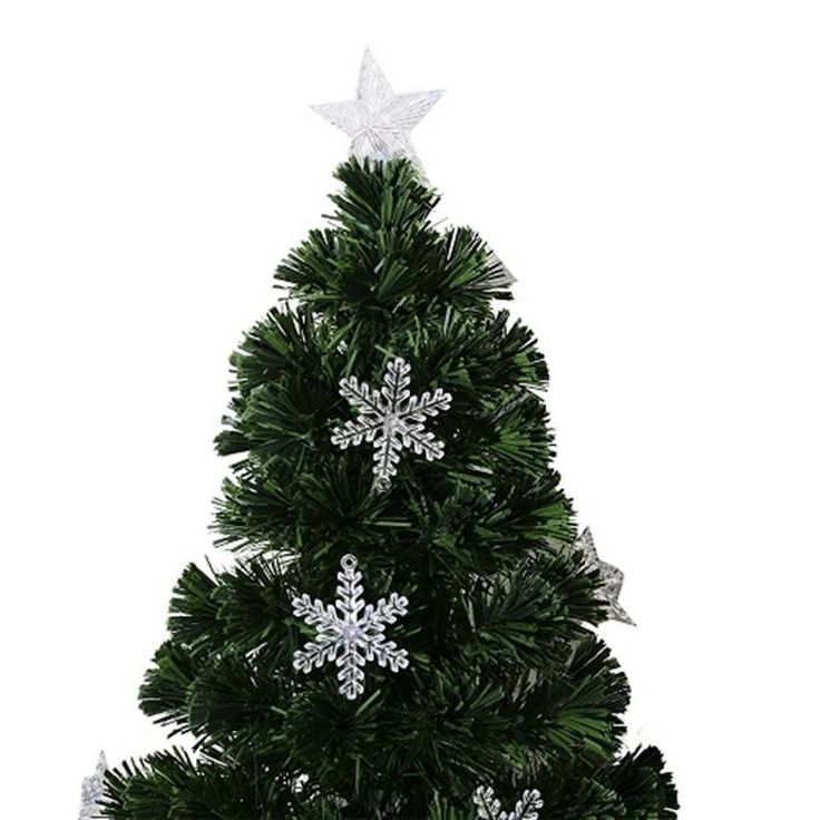 HOMCOM 4ft (120cm) Fibre Optic Artificial Christmas Tree w. Snowflake Lights | aosom.co.uk