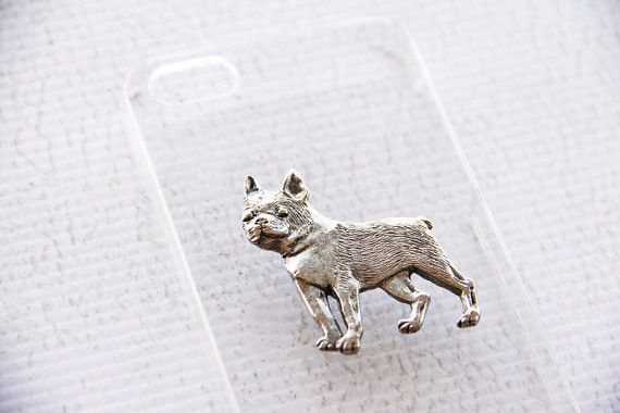 A vintage silver-plated Boston Terrier charm on a hardshell case. - Easy to snap on and allows access to all ports - Slim profile maintains the beauty of your phone - Impact resistant, protects agains