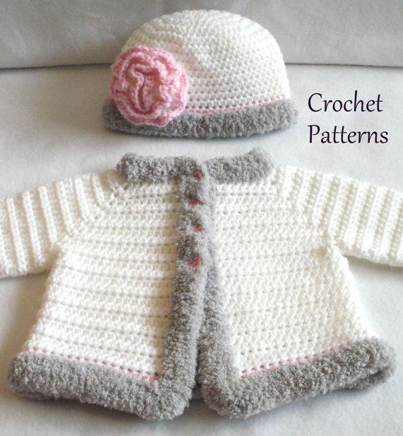 CROCHET PATTERNS for The Laura Baby Girl Hat & Sweater Set ****This listing is for an Instant Download PDF Crochet Pattern Only - Not a finished item**** This Sweater and coordinating Hat beautifully simple lines and a fluffy Chenille trim. The hat features a beautiful flower that can be easily adorned with buttons or bead(s). Included with the Sweater & Hat patterns are instructions for the Magic Circle and Invisible Join methods. Using the magic circle and invisible join methods g...