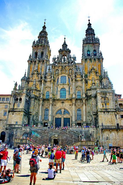 Cathedral of Santiago de Compostela in Galicia in North-western Spain. Tradition says that the remains of the apostle Saint James are buried here. The way of Saint James has existed for over a thousand years. It was one of the the most important Christian pilgrimages during medieval times together with Rome and Jerusalem.