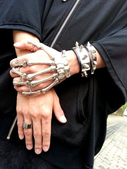 Monomania http://monomania-tokyo.shop-pro.jp/ | silver skeleton hand and spiked bracelets