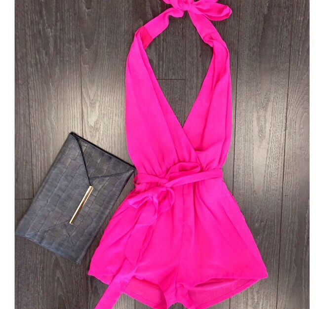 obsessed with hot pink and rompers...so naturally, I love this out fit date night !!!!!!