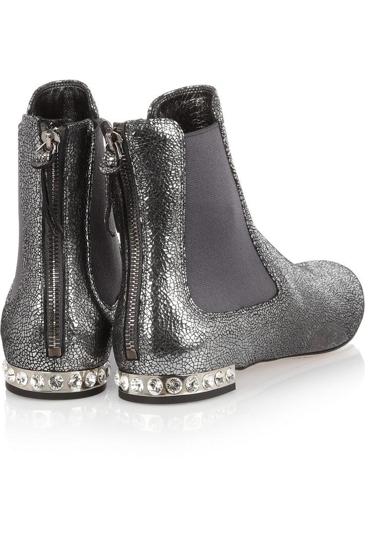 Miu Miu | Cracked metallic-leather boots | NET-A-PORTER.COM
